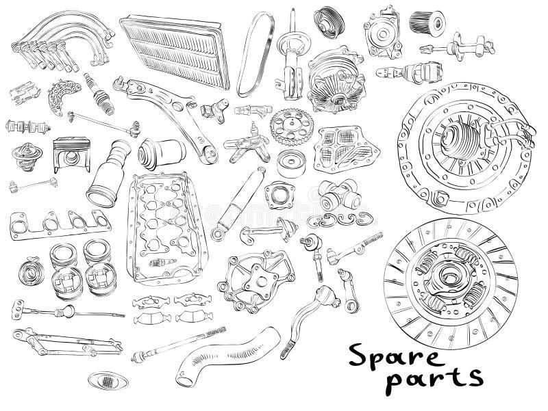 Pezzi di ricambio di mercato degli accessori illustrazione vettoriale