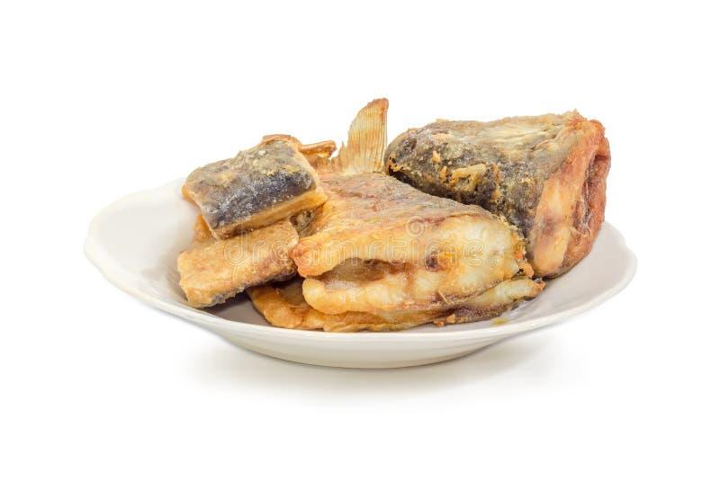 Pezzi fritti di carpa sul piatto su un fondo bianco immagine stock libera da diritti