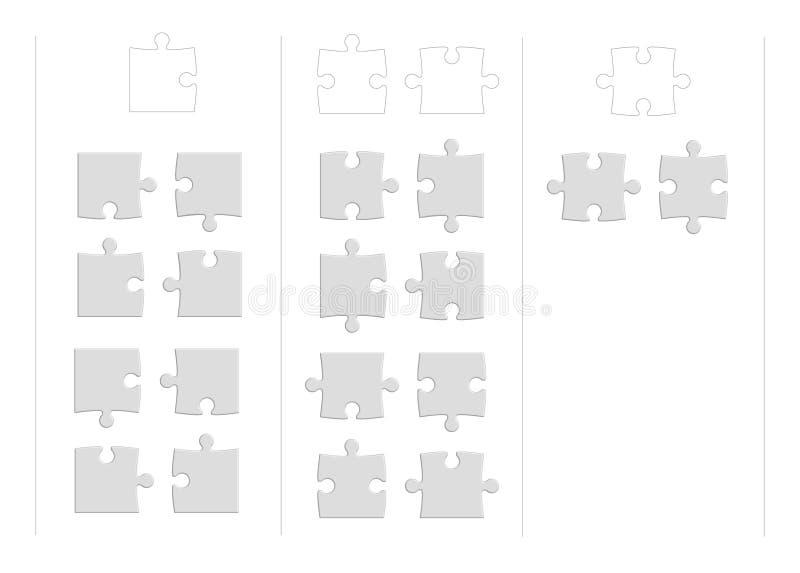 Pezzi isolati basici di puzzle su fondo bianco illustrazione vettoriale