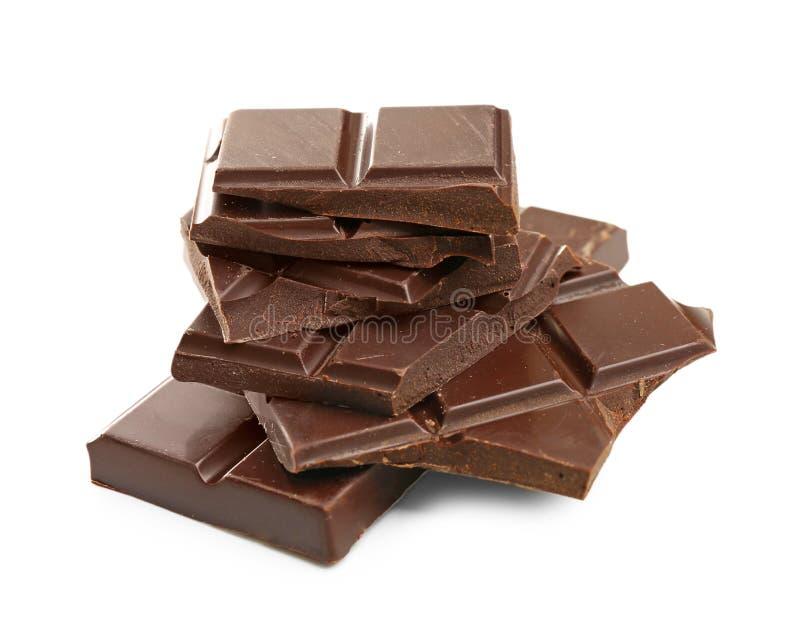 Pezzi rotti del cioccolato fondente immagine stock libera da diritti