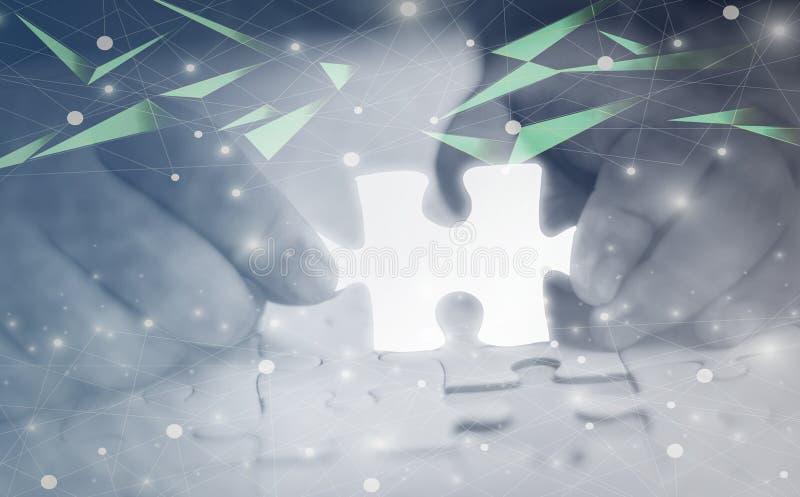Pezzo d'ardore di incandescenza bianca del pezzo del puzzle della tenuta della mano, successo di affari di concetto e scopi astra royalty illustrazione gratis
