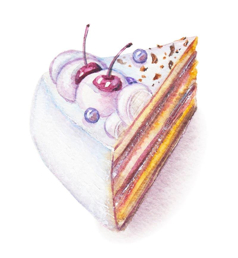 Pezzo dell'acquerello di dolce illustrazione vettoriale