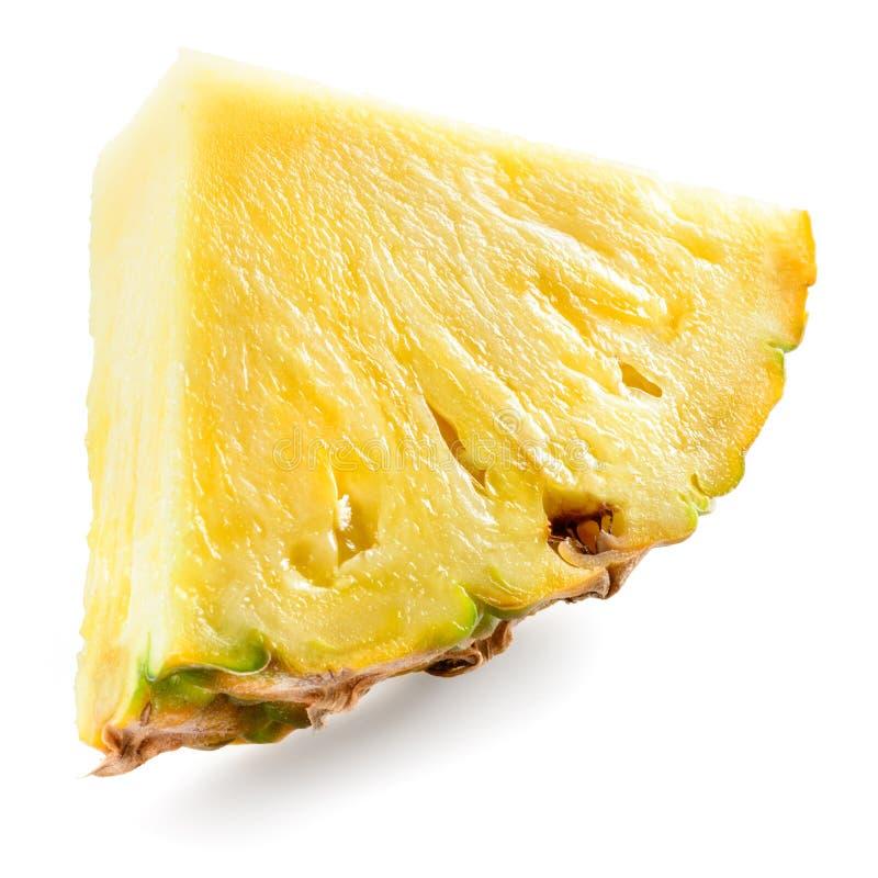 Pezzo dell'ananas isolato su bianco fotografia stock