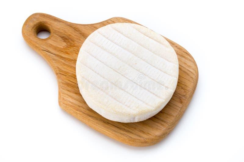 Pezzo di formaggio del camembert isolato su fondo bianco Dalla parte superiore fotografie stock libere da diritti
