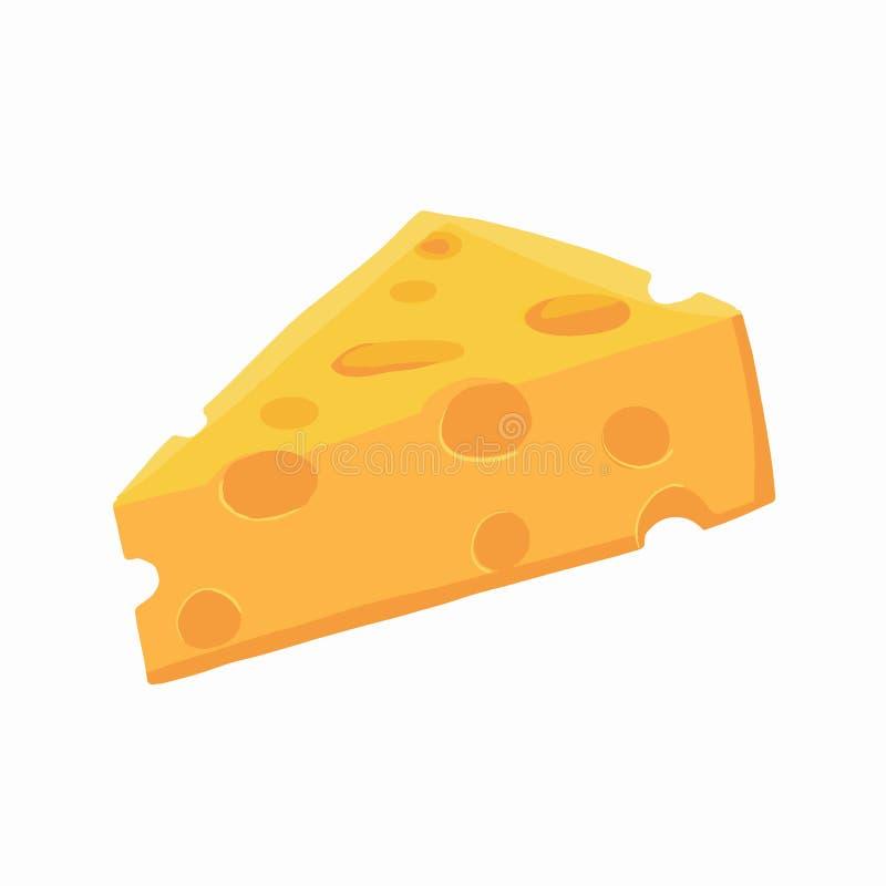 Pezzo di formaggio Illustrazione di vettore isolata icona del formaggio su fondo trasparente bianco royalty illustrazione gratis