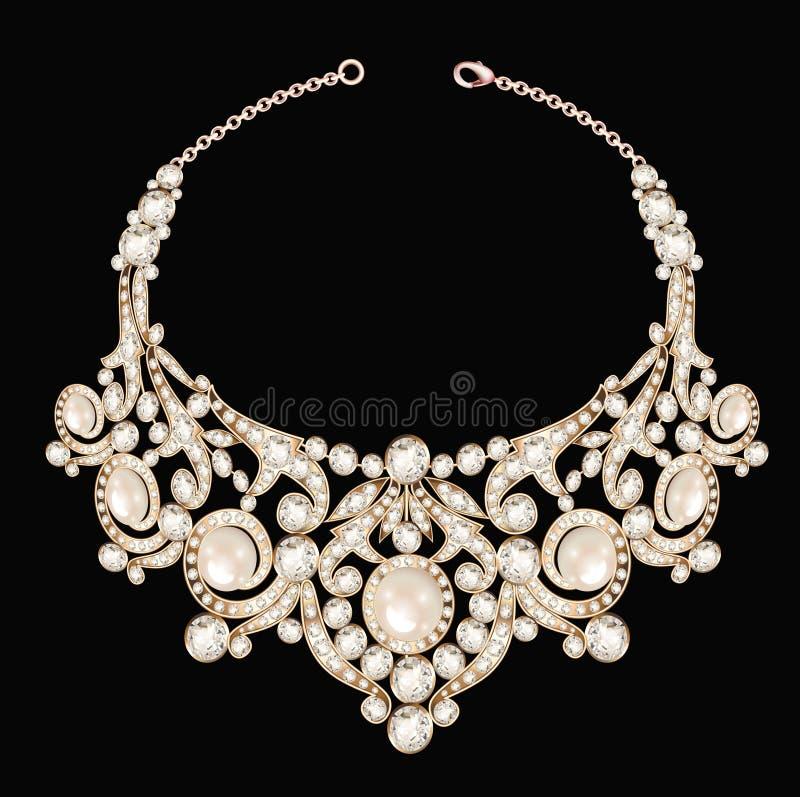 pezzo di gioielli fatto della collana del ` s della donna con illustrazione di stock