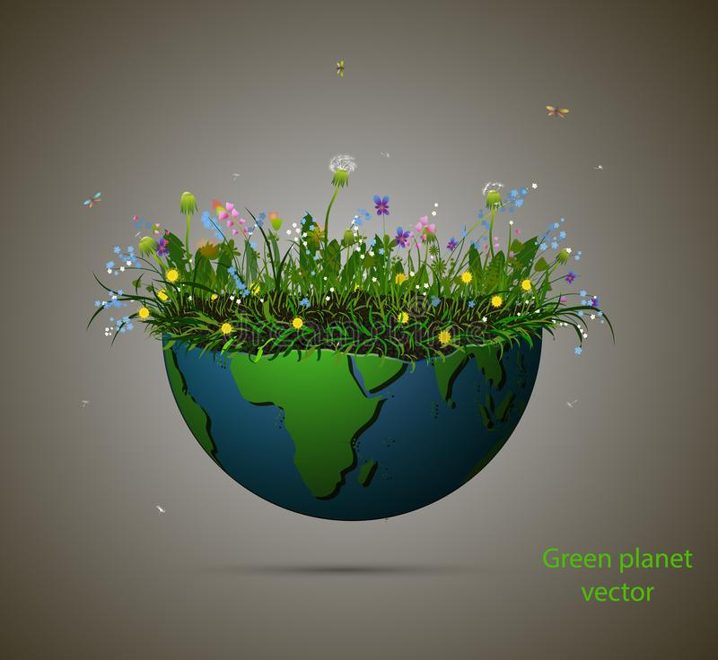 Pezzo di pianeta Terra in pieno del fiore crescente di estate, del pianeta di fioritura isolato e del pianeta verde del testo, pi illustrazione vettoriale