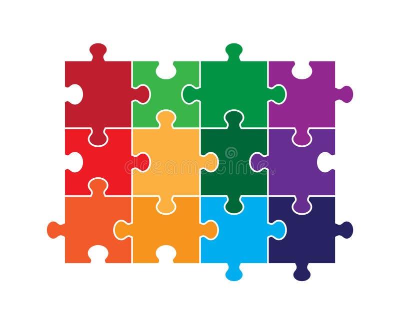 Pezzo di puzzle di dodici parti illustrazione vettoriale