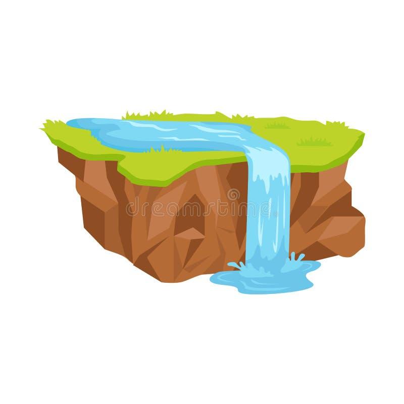 Pezzo di terra con l'illustrazione isolata cascata illustrazione vettoriale