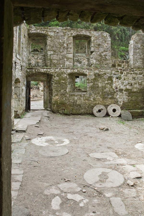 Pezzo di vecchia struttura della parete di pietra immagine stock libera da diritti