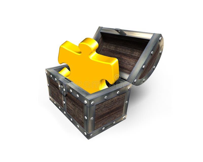 Pezzo dorato del puzzle in forziere, rappresentazione 3D immagini stock