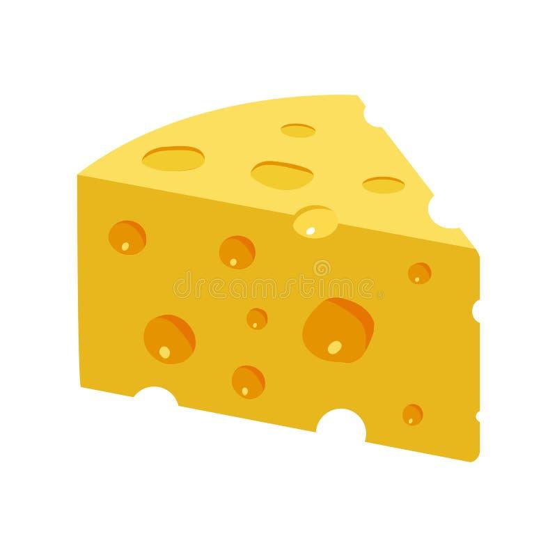 Pezzo giallo triangolare del formaggio illustrazione vettoriale