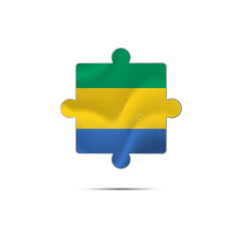 Pezzo isolato di puzzle con la bandiera del Gabon Vettore royalty illustrazione gratis