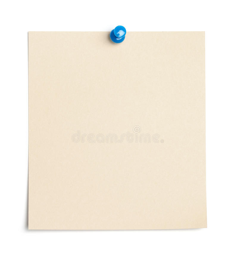 Pezzo di carta vuoto con il chiodo a testa piatta fotografia stock
