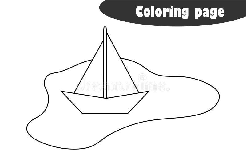 Pfütze mit einem Papierboot in der Karikaturart, Färbungsseite, Frühlingsausbildungs-Papierspiel für die Entwicklung von Kindern, lizenzfreie abbildung