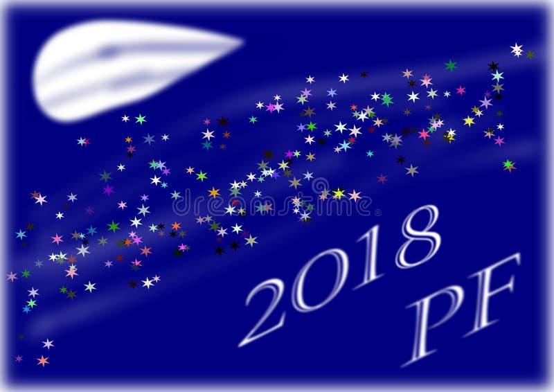 PF 2018 con la luna abstracta en fondo azul foto de archivo libre de regalías