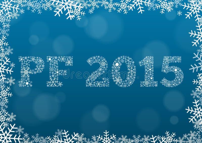 PF 2015 gjorde av snöflingor på mörker - blå bakgrund vektor illustrationer