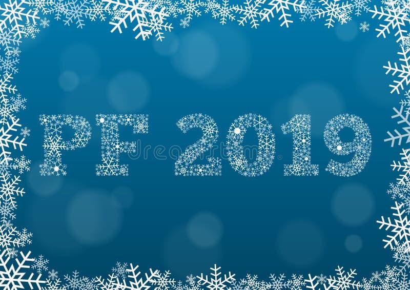 PF 2019 - texto blanco hecho de copos de nieve en fondo con el bokeh stock de ilustración