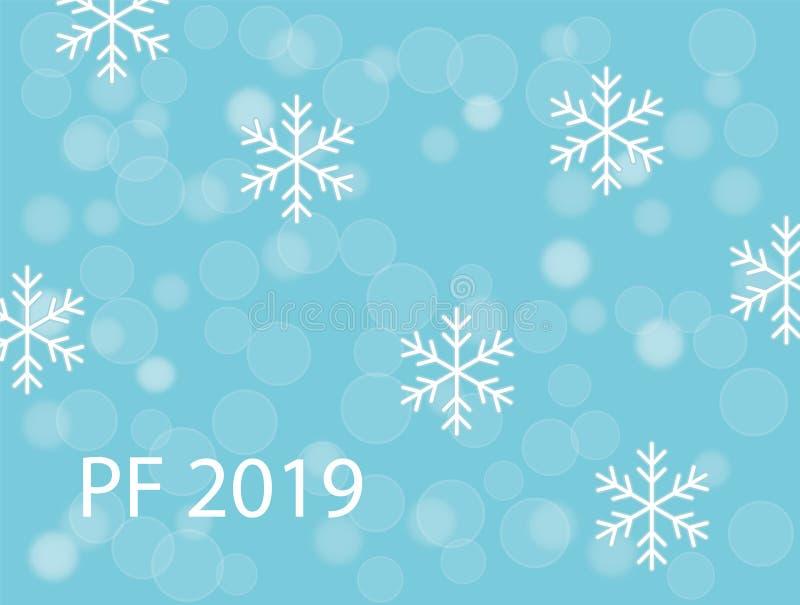PF 2019 z białymi śnieżnymi płatkami i śnieżnym ballson turkusowego błękita bożych narodzeń tłem ilustracji