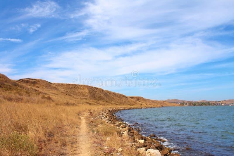 Pfad entlang dem Schwarzen Meer, Krim, Ukraine stockfoto