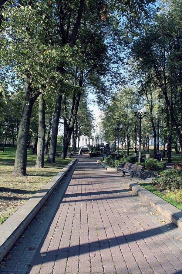 Pfad im Park schöner Herbst im Park in der Stadt stockfotos