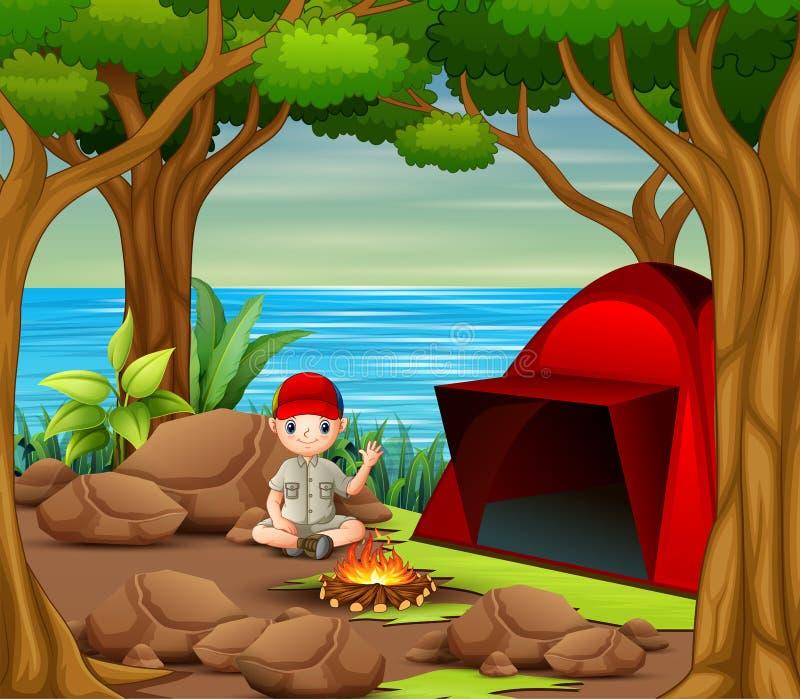 Pfadfinder, der an Campingplatz sitzt stock abbildung