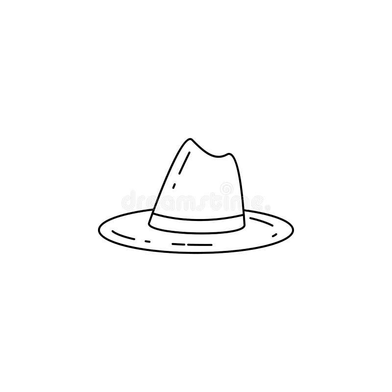Pfadfinderhutikone Element des Kampierens und Erholung der im Freien für bewegliche Konzept und Netz apps Dünne Linie Ikone für W stock abbildung