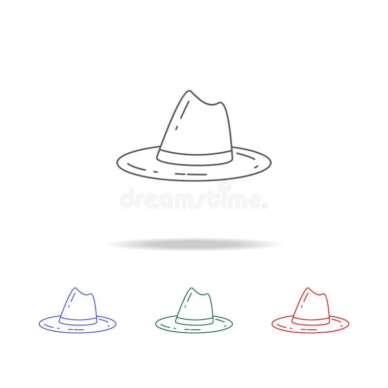 Pfadfinderhutikone Elemente von kampierenden multi farbigen Ikonen Erstklassige Qualitätsgrafikdesignikone Einfache Ikone für Web lizenzfreie abbildung