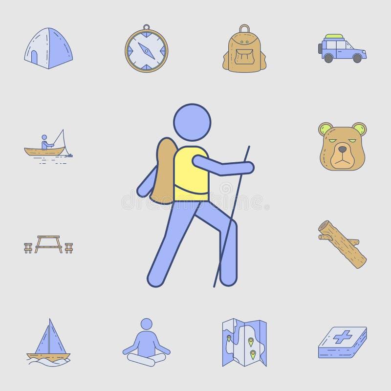 Pfadfinderikone Ausführlicher Satz Farbkampierende Werkzeugikonen Erstklassiges Grafikdesign Eine der Sammlungsikonen für Website lizenzfreie abbildung