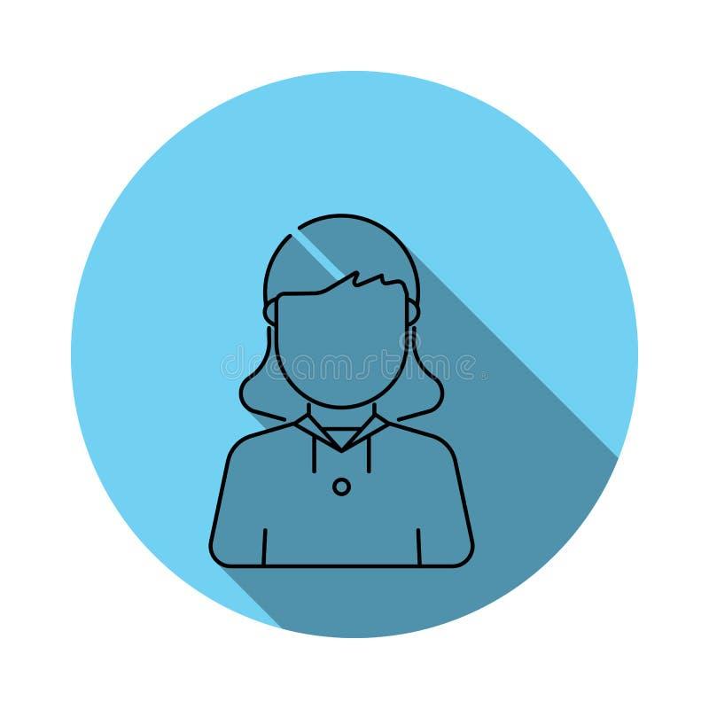 Pfadfindermädchen-Avataraikone Elemente des Avataras flach im Blau färbten Ikone Erstklassige Qualitätsgrafikdesignikone Einfache vektor abbildung