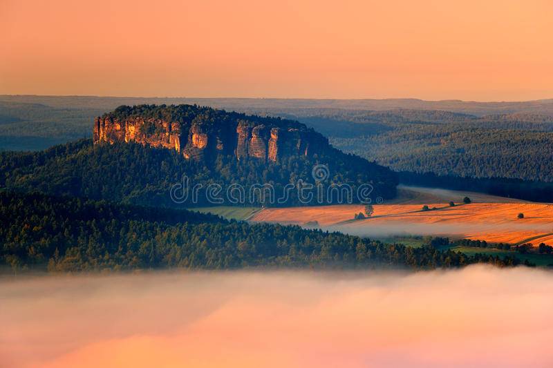 Pfaffenstein table top mountain, beautiful morning view over sandstone cliff into deep misty valley in Saxony Switzerland. stock photography