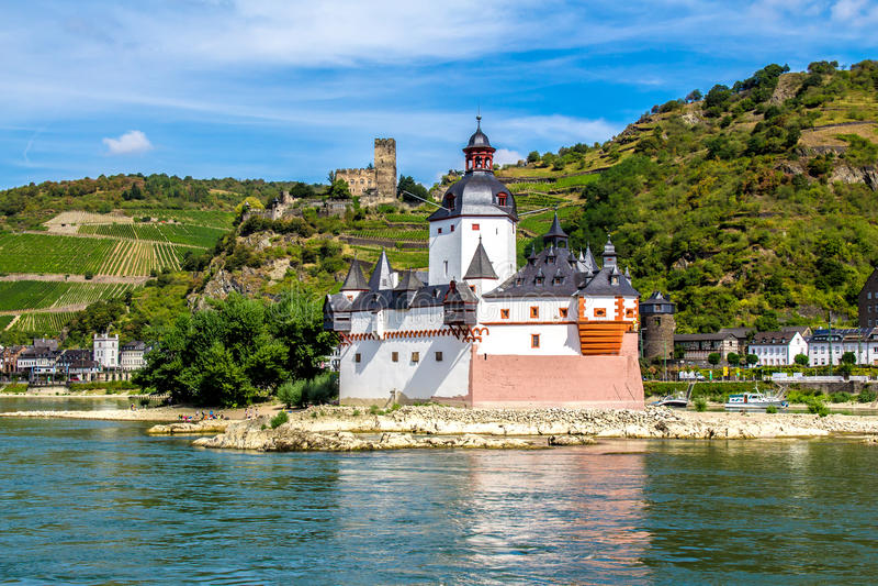 Pfalzgrafenstein Castle, on the Falkenau island in the Rhine riv royalty free stock image