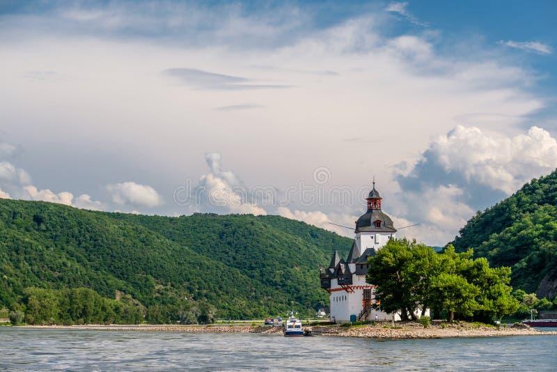 Pfalzgrafenstein Castle, toll castle at Rhine Valley near Kaub, Germany. stock image