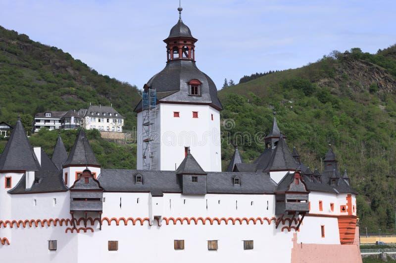 Pfalzgrafenstein Castle is a toll castle on the Falkenau island, otherwise known as Pfalz Island i stock images
