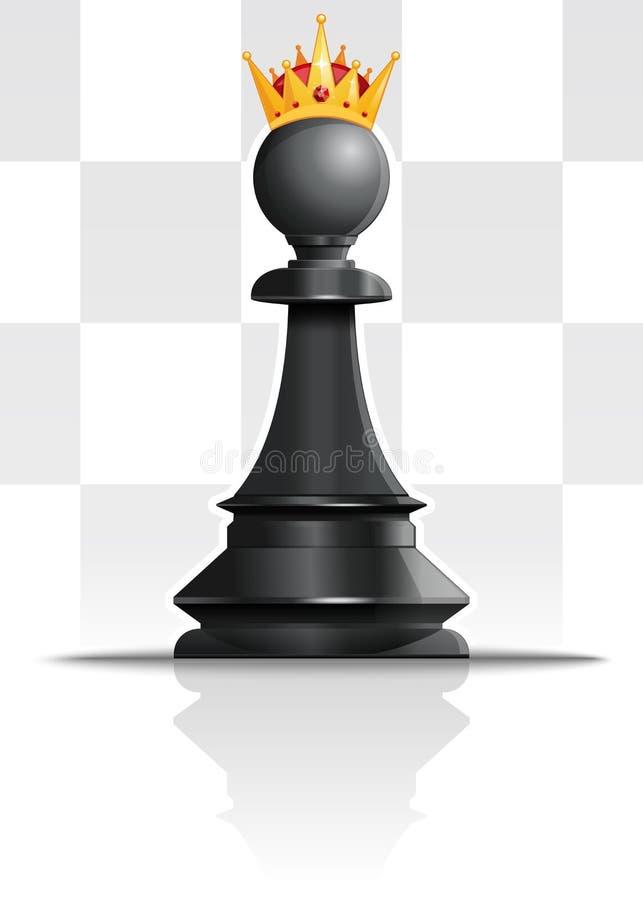 Pfand in der goldenen Krone Schachkonzeptentwurf vektor abbildung