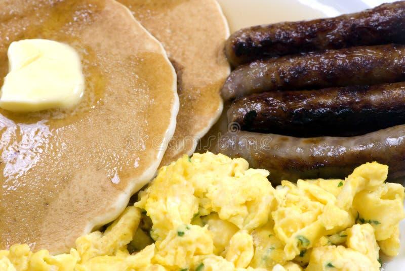 Pfannkuchen, Eier und Wurst 2 stockbild
