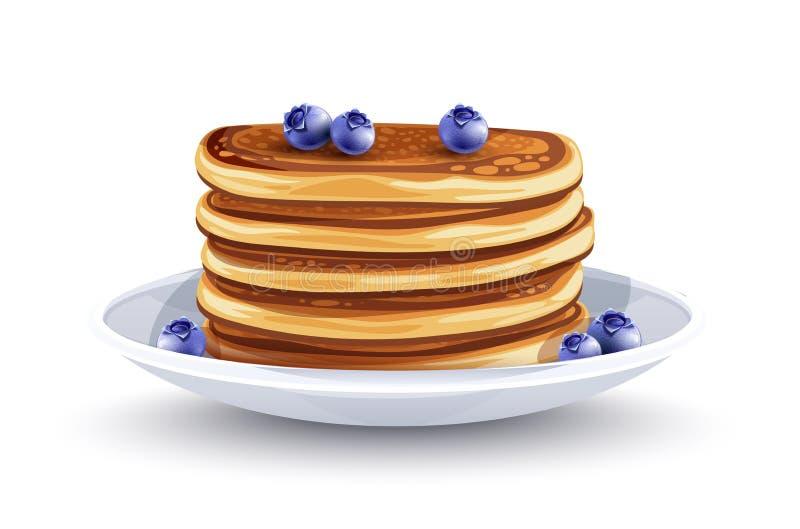Pfannkuchen mit Blaubeeren auf der Platte Traditionelle Fr?hst?ck Vektorillustration lizenzfreie abbildung