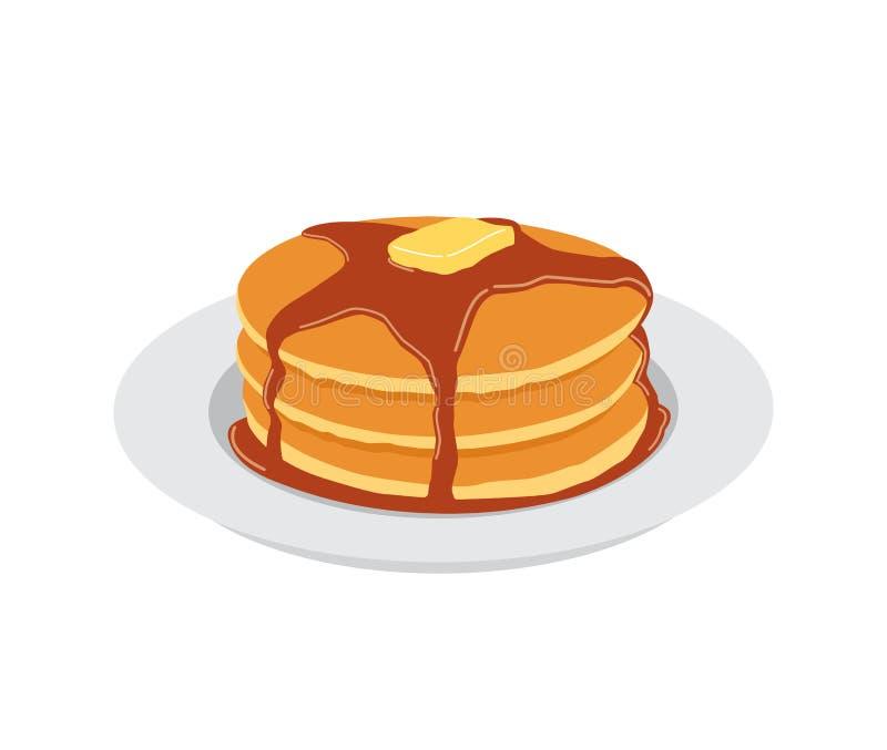 Pfannkuchen mit Butter- und Ahornsirupbonbon lizenzfreie abbildung
