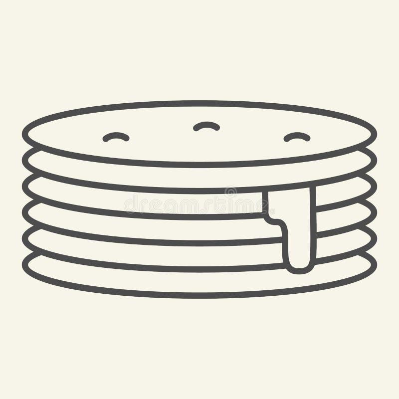 Pfannkuchen mit dünner Linie Ikone des Sirups Frühstücksvektorillustration lokalisiert auf Weiß Süßer Brunchentwurfs-Artentwurf vektor abbildung