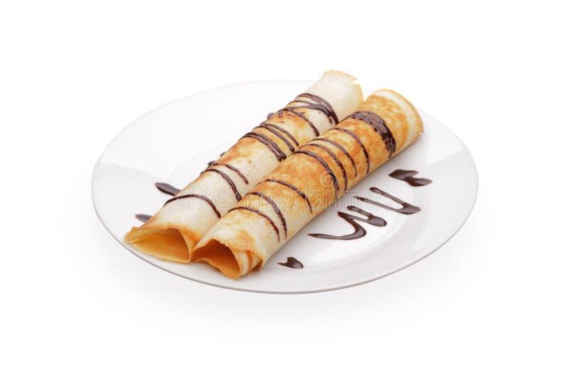 Pfannkuchen mit dem Anfüllen stockfotografie