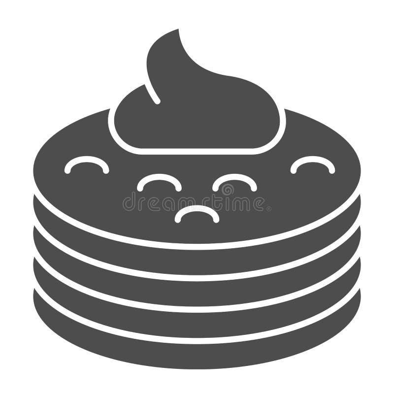Pfannkuchen mit fester Ikone des Sirups Pfannkuchen mit der Buttervektorillustration lokalisiert auf Weiß Frühstück Glyph-Artentw vektor abbildung