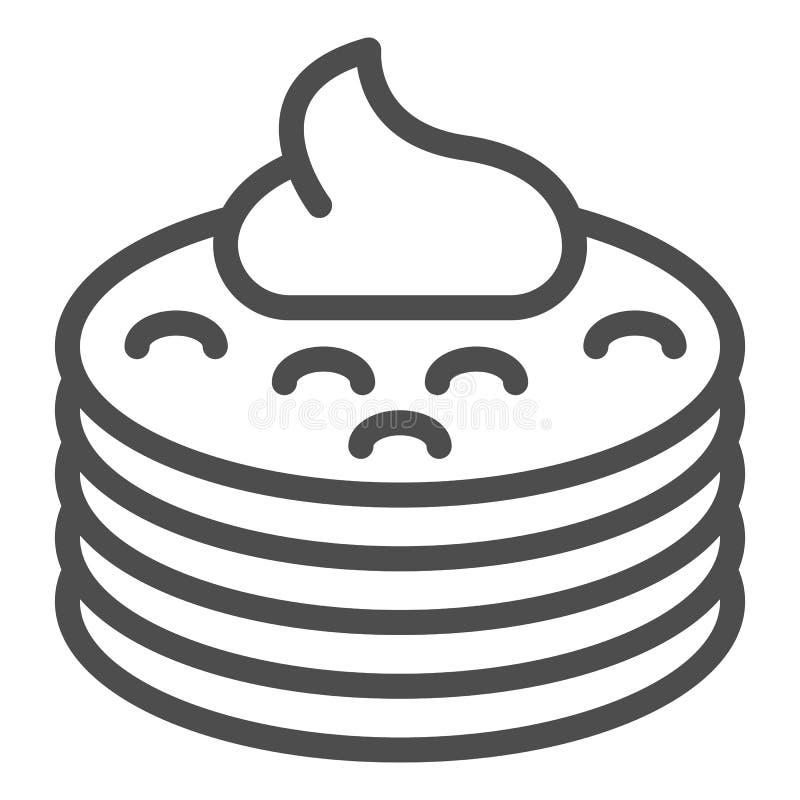 Pfannkuchen mit Siruplinie Ikone Pfannkuchen mit der Buttervektorillustration lokalisiert auf Weiß r stock abbildung