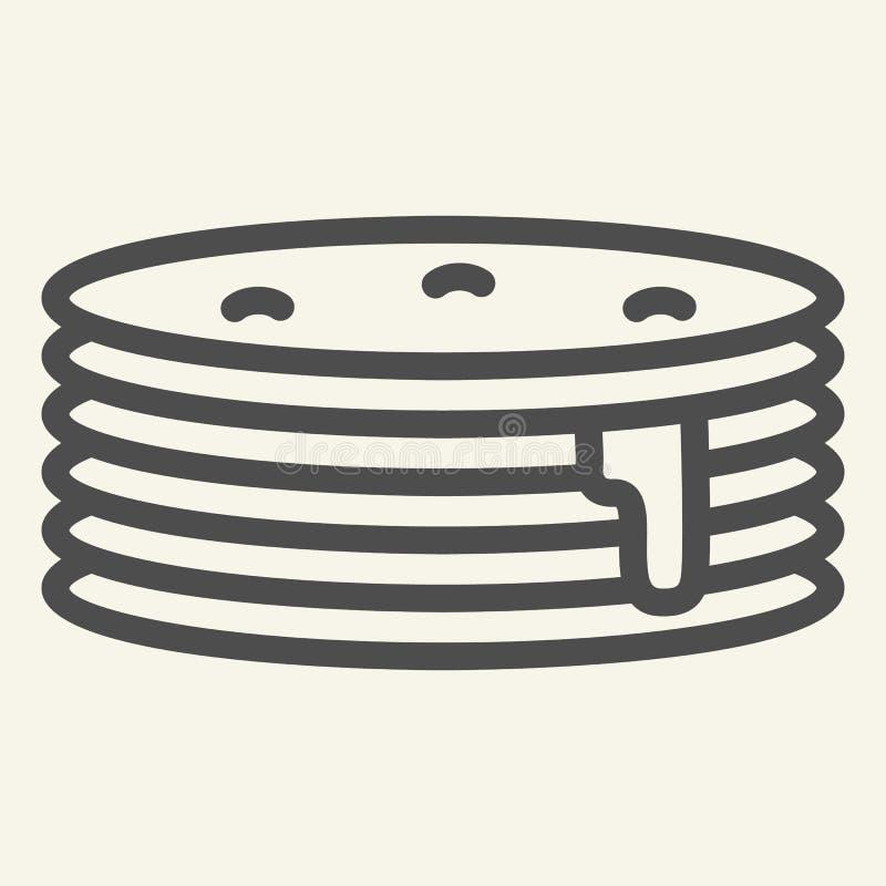 Pfannkuchen mit Siruplinie Ikone Frühstücksvektorillustration lokalisiert auf Weiß Süßer Brunchentwurfs-Artentwurf lizenzfreie abbildung