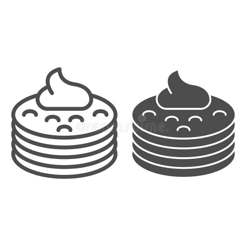 Pfannkuchen mit Siruplinie und Glyphikone Pfannkuchen mit der Buttervektorillustration lokalisiert auf Weiß Frühstücksentwurf vektor abbildung
