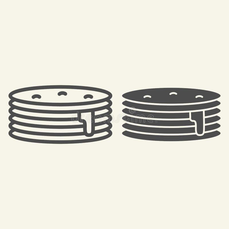 Pfannkuchen mit Siruplinie und Glyphikone Frühstücksvektorillustration lokalisiert auf Weiß Süße Brunchentwurfsart lizenzfreie abbildung
