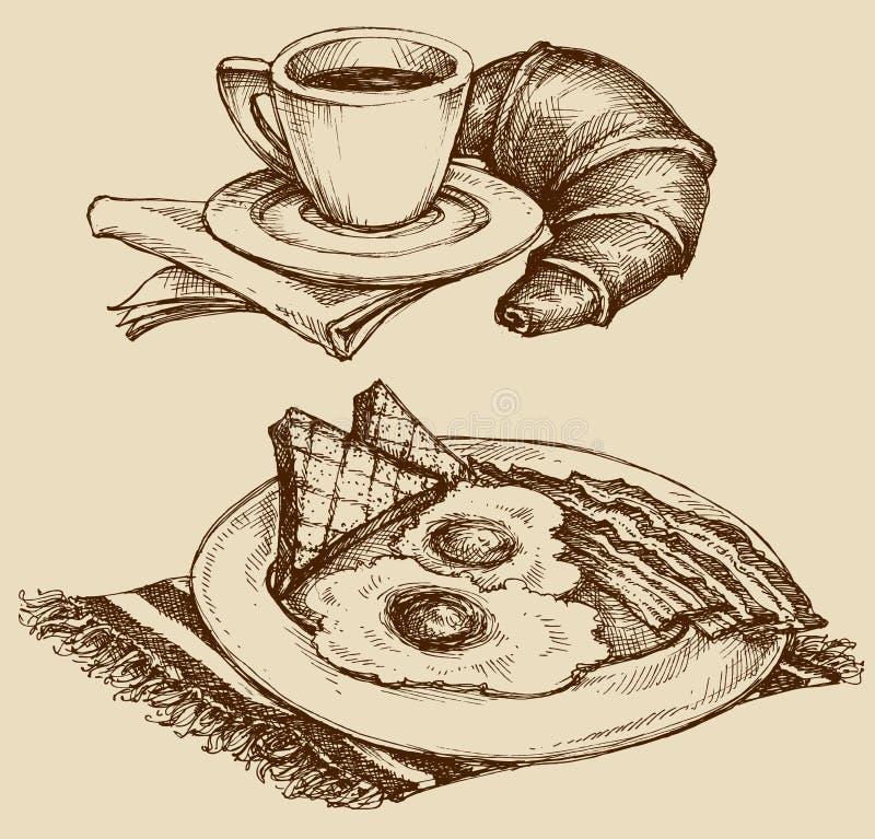 Pfannkuchen mit Stau und Blaubeeren vektor abbildung