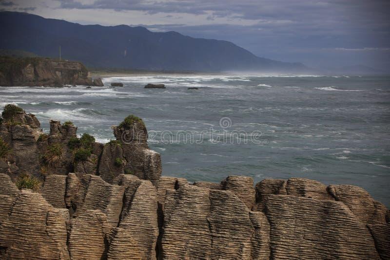 Pfannkuchenfelsen NZ lizenzfreies stockfoto