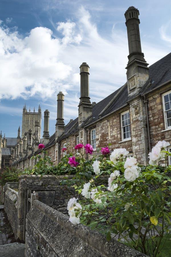 Pfarrer schließen und Wells-Kathedrale lizenzfreies stockfoto