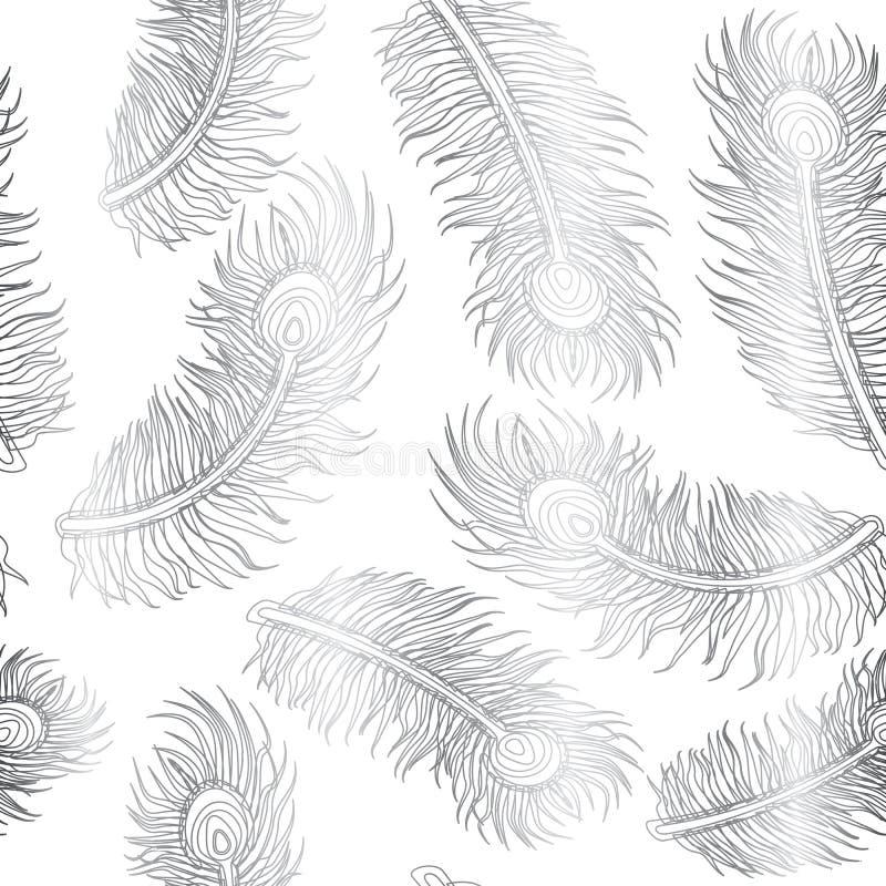 Pfau-Feder-nahtloses Muster-Silber auf weißem Hintergrund lizenzfreie abbildung