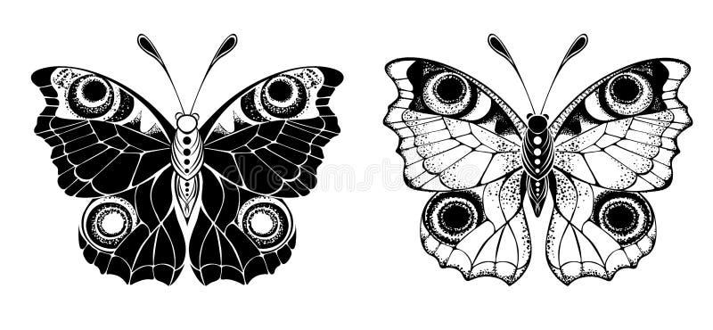 Pfau mit zwei Schmetterlingen auf weißem Hintergrund stock abbildung